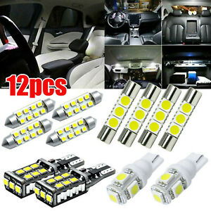 White T10 194 Led Interior Lights Package License For Chevy Silverado 1500 2500