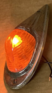 early Kd 517 Vintage Marker Light Fender Red Glass Lens Truck Cab Clearance