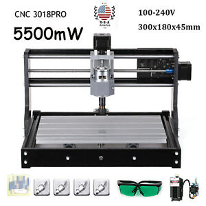 Cnc 3018 Pro Diy Router 2in1 Engraving Milling Kit With 5500mw La Ser Head Y6n9