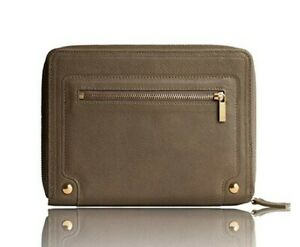 New Leather Agenda Planner Taupe W zip Closure Weekly Monthly Perpetual Calendar