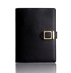 New Leather Agenda Planner Blk W snap Closure Weekly Monthly Perpetual Calendar