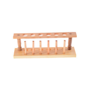 6 Holes Lab Wooden Test Tube Storage Holder Bracket Rack With Stand Sticks T_ Ht