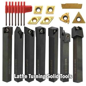 Lathe Turning Solid Tools Holder Carbide Inserts Boring Bar Cutter Metal Rod Kit