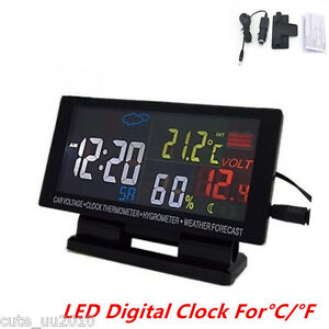 Universal In Car Voltmeter Clock Thermometer Hygrometer Weather Forecast Lcd New