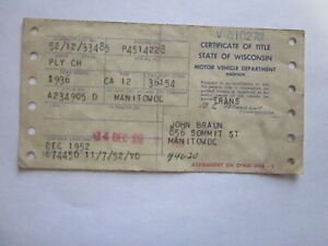 1936 Plymouth Ch Barn Find Historical Document