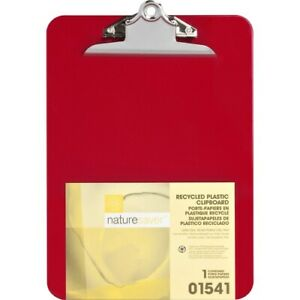 Nature Saver Plastic Clipboard Recycled 1 Cap 9 x12 Red