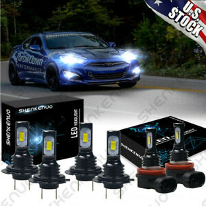 For Hyundai Genesis Coupe 2013 2016 Led Headlight Bulbs Kit Hi lo Beam Fog Light