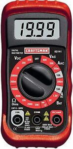 Craftsman 8 Function Digital 20 Range Test Leads Multimeter Tool Acdc Amp Diode