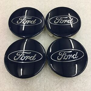 Set 4 Center Caps 2 1 2 Ford F 150 Expedition Blue Oem fl34 1a096 ca