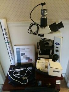 Olympus Cx41 Phase Contrast Microscope With Video Camera Workbook Accessories