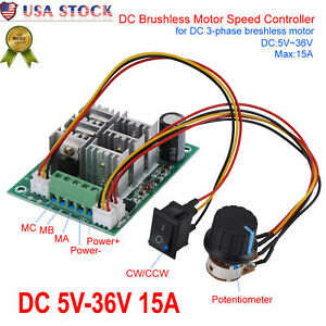 Brushless Motor Speed Controller Control Cw Ccw Reversible Dc 5v 36v 15a 3 phase