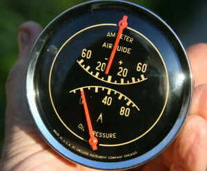 Airguide Vintage Dual Amp Oil Pressure Gauge Cluster Curved Glass