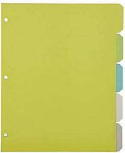 Martha Stewart Office Binder Dividers 5 Tab Letter Size Multi colored 28753