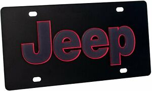 Jeep License Plate Carbon Steel Black With Red