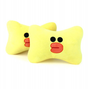 2pcs Set Cute Car Pillow Universal Cartoon Car Headrest Neck Pp Cotton Yellow