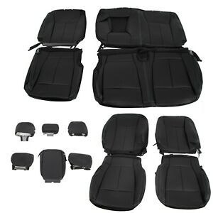For 2015 2021 Ford F150 Super Crew Cab Front Rear Seat Covers Full Set Black