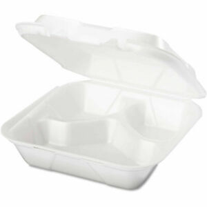 Hinged Lid Foam Food Container 8 1 4 X 8 X 3 3 Compartment 200 Pack