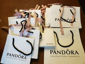 Pandora Jewelry Gift Bag Attached Ribbon Used Once 10 Soft Fabric Pouches