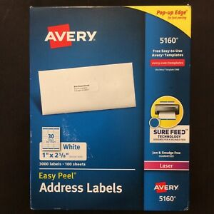 Avery 5160 Easy Peel White Laser Address Labels 1 X 2 5 8 Mail 3 000 Ct Labels