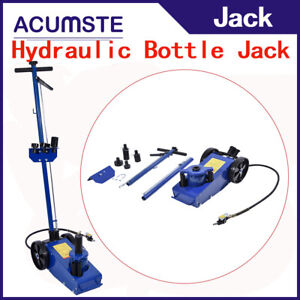 22ton Hydraulic Floorjack Air Operated Jack Extension Saddle Set Built In Wheels