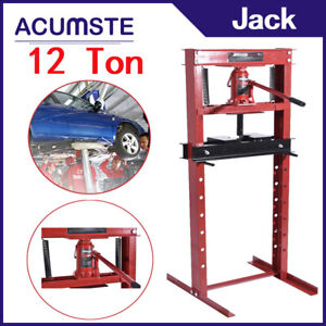 12ton Steel H Frame Hydraulic Shop Floor Press With Stamping Plates Capacity Red