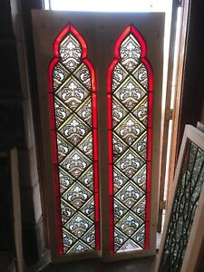 Sg 2678 Match Pair Antique Gothic Arch Painted In Fired Windows 18 3 8 X74