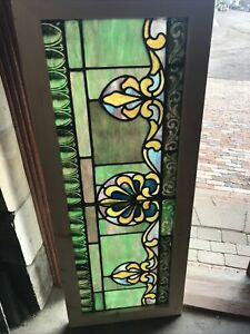 Sg3502 Antique Painted And Fired Stained Glass Transom Window 22 X 54 5