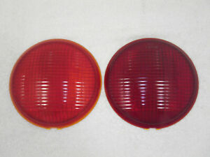 2 Vintage Ls385 Red Glass Tail Light Lenses stop fire Truck bus rod 6 3 4 nos