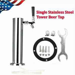 Stainless Steel Draft Beer Tower Kegerator Single Chrome 2inch Tap Faucets