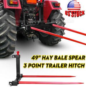 1 Tractors 3 Point Trailer Hitch Quick Attach Bale Spear 2x 49 Hay Bale Spear