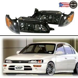 For 93 97 Toyota Corolla Jdm Dx Black Housing Headlights Corners Lights Set