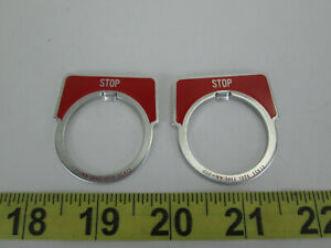 Lot Of 2 New Square D Pushbutton Legend Plate stop Red Class 9001 Type Kn 202