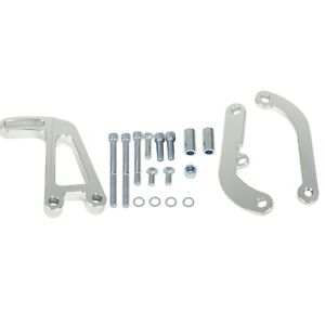 For Sbc Chevy Long Water Pump 350 Lwp Polished Aluminum Power Steering Bracket