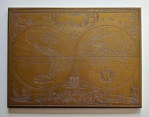 Antique Vtg European Nautical Old World Map Engraved Brass Nova Totivs