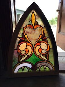 Sg 250 Antique Gothic Arch Stainglass Window