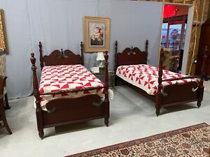 Pair Of Antique Mahogany Twin Beds