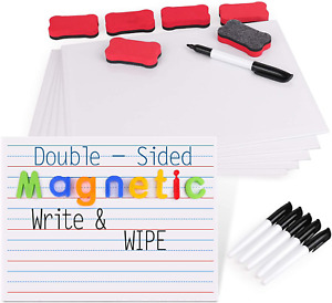 Gamenote Magnetic Small White Board Set Double Sided Magnet Dry Erase Ruled La