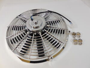 Universal 14 Electric Cooling Fan Straight Blades 12v Chrome Housing