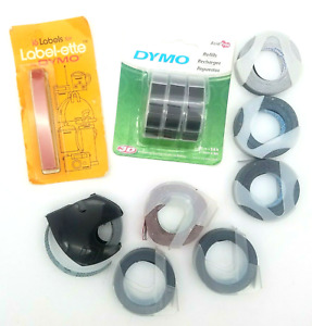 Lot Of 3 8 Dymo Embossing Label Maker Tape Most New Black Red