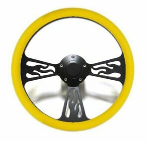 14 Steering Wheel Yellow Flamed Black Vinyl For 1949 1991 Ford Pick Up s