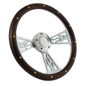 14 Steering Wheel Polished Flame Mahogany For 1949 1991 Ford Pick Up s