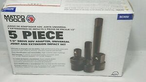Matco 5 Piece 1 2 Drive Adv Adapter Universal Joint Extension Impart Set Scx5v