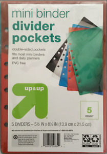 Up up Mini Binder Dividers 5 pc Multicolor Set W Clear Pockets Lot Of 2