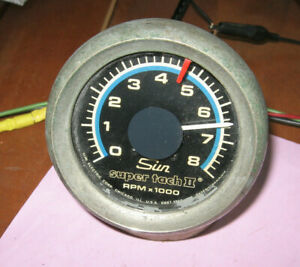 Vintage Sun Super Tach Ii 8 000 8k Rpm Blue Line Tachometer Rat Rod Works 301