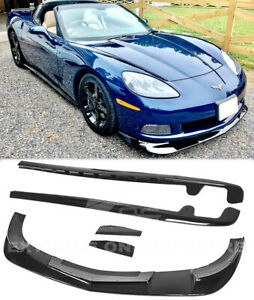 Glossy Black Front Lip Side Skirts Fits 05 13 Corvette C6 Base Zr1 Extended