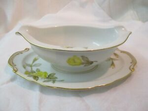 Vintage Japan Sango Gravy Boat attached underplate Cotillion Yellow Rose AR $39.99