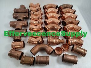 lot Of 35 2 Propress Copper Fittings Tees Elbows Adapter Couplings