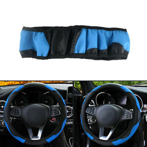 Universal Car Black Blue 38cm 15 Auto Microfiber Leather Steering Wheel Cover