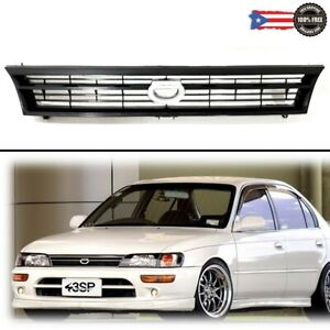 Fits 93 97 Toyota Corolla Jdm Ae100 Ae101 Black Front Upper Grille W crown Logo