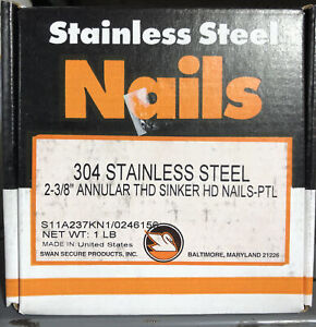 Swan Stainless Steel Angular Thd Nail 1lb 2 3 8 Long